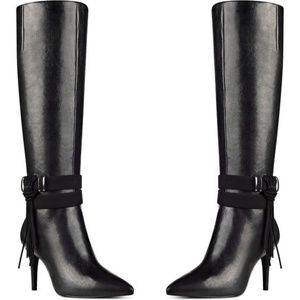 Black Genuine Leather Tall Boots